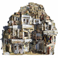 The-City-Island-3D-collaged-newspaper-on-panel-30-x-30-2017